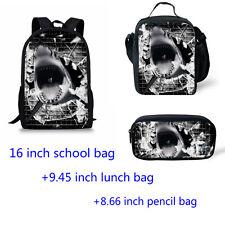 Cool shark Girl Boy Backpack Lunch box Pencil Pen Bags Back to School Study 3pcs