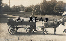 WW1 German soldier with parcel waggon pulled by donkey Karlsruhle Officers Camp
