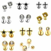 5Pair Stainless Steel Tragus Ring Helix Cartilage Stud Ear Studs Body Piercing
