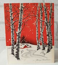 More details for vintage 1930's art deco winter woodlands house snow trees greeting card eb1554