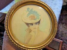 """Antique  Miniature Painting Water Color Round Metal Frame Easel 4'""""d LADY IN HAT"""