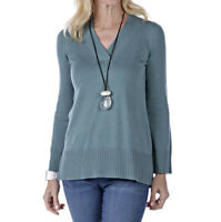 NEW MarlaWynne V-Neck Crescent Hem Pullover Sweater Peacock Size Small