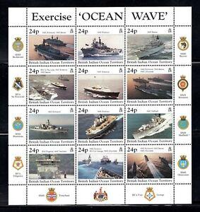 British Indian Ocean 1997 Royal Navy Warships Exercise Ocean Wave Minisheet MNH