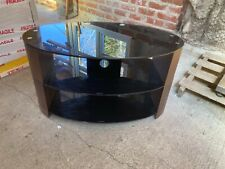 Modern Oval Black Glass & Wood Effect TV Unit Entertainment Stand