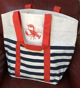 NWT Tommy Bahama Lobster Striped Canvas Reusable Tote Bag XL Beach Nautical NEW