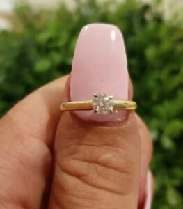 14ct Yellow Gold Natural Diamond Solitare Engagement Ring .33cts Valued $2056