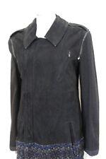 £2440 Haider Ackermann Black Suede Navy Tweed Leather Jacket Coat F38 uk 10