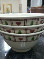 3 Large & Deep  Hartstone heart and tree design     bowls 7'' x 3.5''