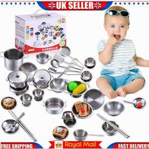 Kids kitchen Food Toys Cooking Utensils Pots Pans Accessories Set Childrens Gift