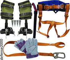 Tree Climbing Spike Set Safety Belt Lanyard 10 Pruning Saw Gloves