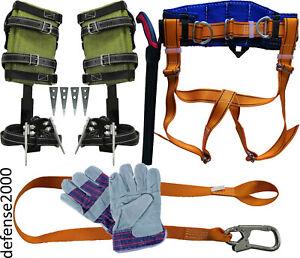 """Tree Climbing Spike Set, Safety Belt, Lanyard, 10"""" Pruning Saw, Gloves"""