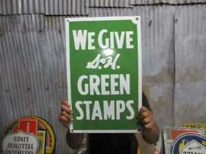 """Porcelain Green Stamps Enamel Sign Size 19"""" x 12""""  Inches"""