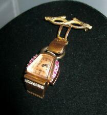 Paul Ditisheim Lucien Picard 14kt Rose Gold Diamond Ruby Nurse Lapel Pin Watch