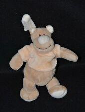 Peluche doudou hippopotame beige JOLLYBABY pull orange saumon grelot 15 cm TTBE
