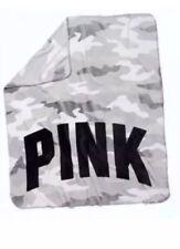 """VICTORIAS SECRET PINK CAMO COZY BLANKET GRAY WHITE SLEEP THROW 50""""x60"""" NWT"""
