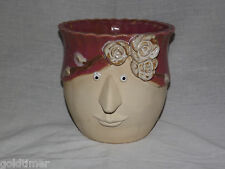 """VINTAGE 6 1/4"""" HIGH CERAMIC FACE with FLOWERS SCALLOPED RIM PLANTER"""