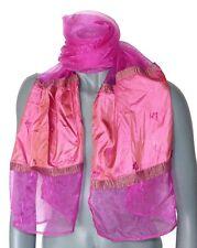 ECHARPE de créateur femme MINE DERIEN foulard rose vif étole carré chale neuve