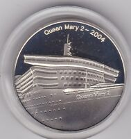 2004 QUEEN MARY 2/CUNARD HALLMARKED SILVER MEDAL IN MINT CONDITION + CAPSULE