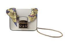 New FURLA Metropolis Seta MiniLeather White Crossbody Bag.