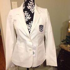 Women's Lacoste White Seersucker Light Weight Cotton Blazer Size 10 MSRP$235 NWT