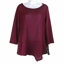 Women Fashion Sweater Knits Alfani Missy Blouse Top Burgandy L New