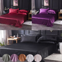 Satin Silk Flat Bed Sheet Quilt Cover Pillowcase Solid Colour Bedding