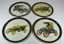 """Display Trays Tin Metal Vintage Four Antique Cars - Model """"T"""", Welch, Cadillacs"""