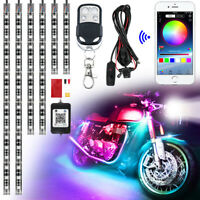 6x Motorcycle LED RGB Multi Colour Strip Light Remote APP Control Fit For Harley