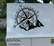 Camper RV Truck Car Decal Vinyl Sticker Travel Compass mountains, Gift Adventure