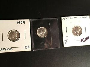 3 Different Mercury Dimes -  1939, 1941, 1942 - AU/UNC Higher Grade Condition