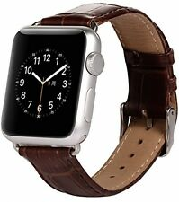 BROWN GENUINE LEATHER Crocodile Croc Strap Band for Apple Watch iWatch 42mm