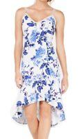 Jump Apparel Women's Dress Blue White Size XXS Sheath Floral High-Low $69 #185