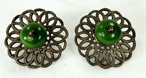 Great Pair Antique Doorknobs Green Ceramic Knobs and Fancy Cast Iron Back Plates