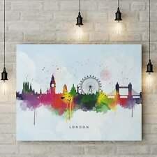 London Skyline, Multi-Color Water Colour Print on Blue Wash Canvas Art Print