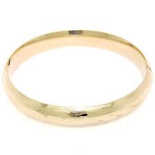 14K Yellow Gold 10mm Wide Hand Etched Leaf Open Domed Open Bangle Bracelet 15.8g