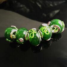 5pcs Silver MURANO GLASS BEAD LAMPWORK fit European Charm Bracelet  C~