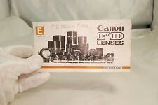 Canon FD Lenses System Guide Booklet 7212085 1968 English Instructions