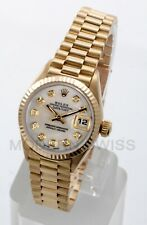 Rolex Ladies President 18K Yellow Gold White MOP Diamond Fluted 69178 Quickset