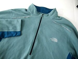 North Face Mens Athletic Jacket XL Teal Green 1/4 Zip Pullover Fleece Sleeve