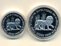 Israel Commemorative Coins:1 & 2 NIS ,1997 * Lion * Silver * BU + PR + BOX + COA