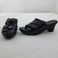 Frye Wedges Thomasville Leather for Womens Heel Shoes Size 8 Black Sandals Strap