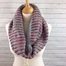 Womens Winter Infinity Loop Snood Scarf Grey Wine Purple Mix Knitted Look
