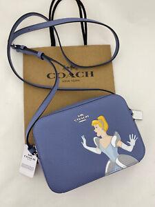 Disney X Coach Mini Camera Bag Crossbody Cinderella Leather Blue C3406 $278 NWT