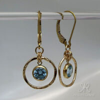 SCHLICHT & BRILLANT ● aquamarin - topas blau Zirkonia Ohrringe ygf 14k Gold 585