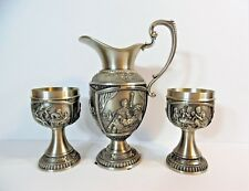 Vintage SKS ZINN 95% Pewter Pitcher & Two Chalices / Goblets with Famous Artists