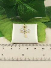 P1206 Solid 9ct 375 Yellow & White Gold Dragon Fly Pendant Only