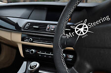 FOR LANCIA MUSA 04+ PERFORATED LEATHER STEERING WHEEL COVER WHITE DOUBLE STITCH