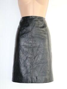 Women's Vintage 23 ONNYARD Straight Knee Length Black 100% Leather Skirt UK8 W26