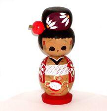 JAPANESE ASIAN WOOD KOKESHI DOLL PRETTY GIRL w/ HUGE RED KANZASHI IN HAIR !