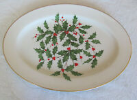 "Lenox Holiday Presidential Special-Holly with Gold Trim-16"" Oval Serving Platter"